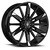 545 Gloss Black with Mirror Machined Spoke Tips