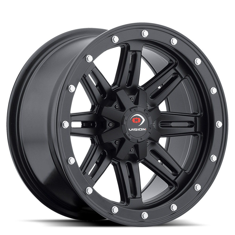 12x8 Machined Black Wheel Vision Lock Out 5x4.5-10